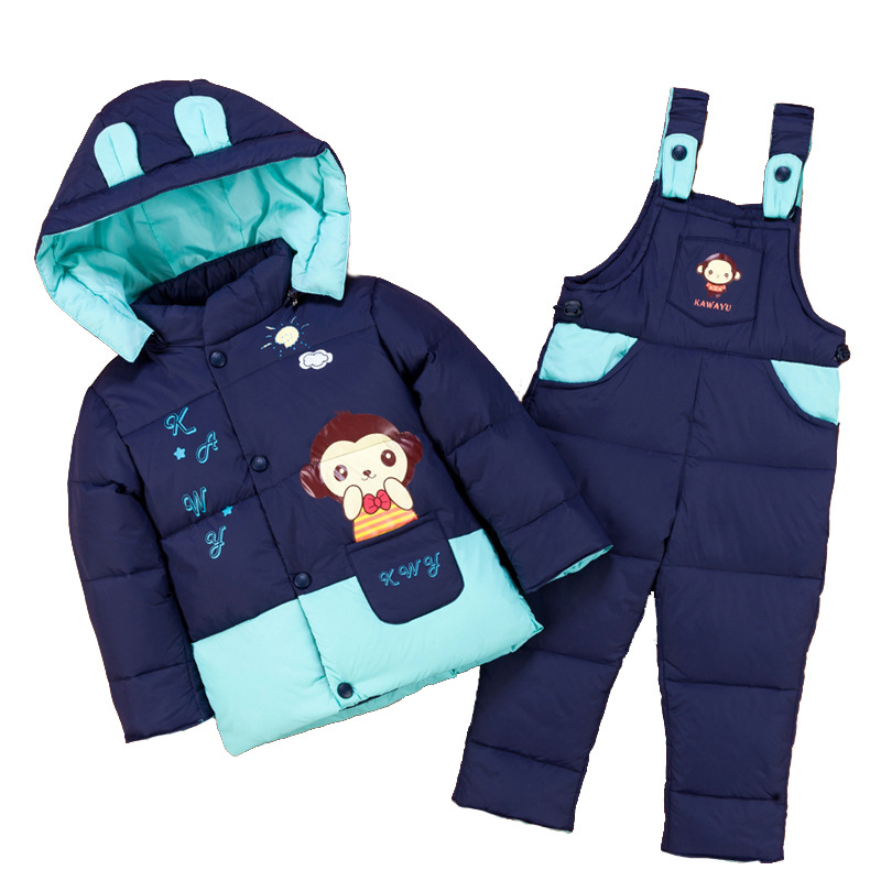 cartoon baby Children boys girls winter warm down jacket suit set thick coat+jumpsuit baby clothes set kids jacket animal