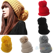 Hight Quality 2013 Women's Winter Slouch Knit Cap Warm Oversized Cuffed Beanie Crochet Ski Bobble Beanies knitting wool Hat 0JHE