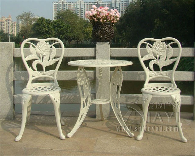Garden Furniture 3 Piece aliexpress : buy 3 piece flower good quality cast aluminum