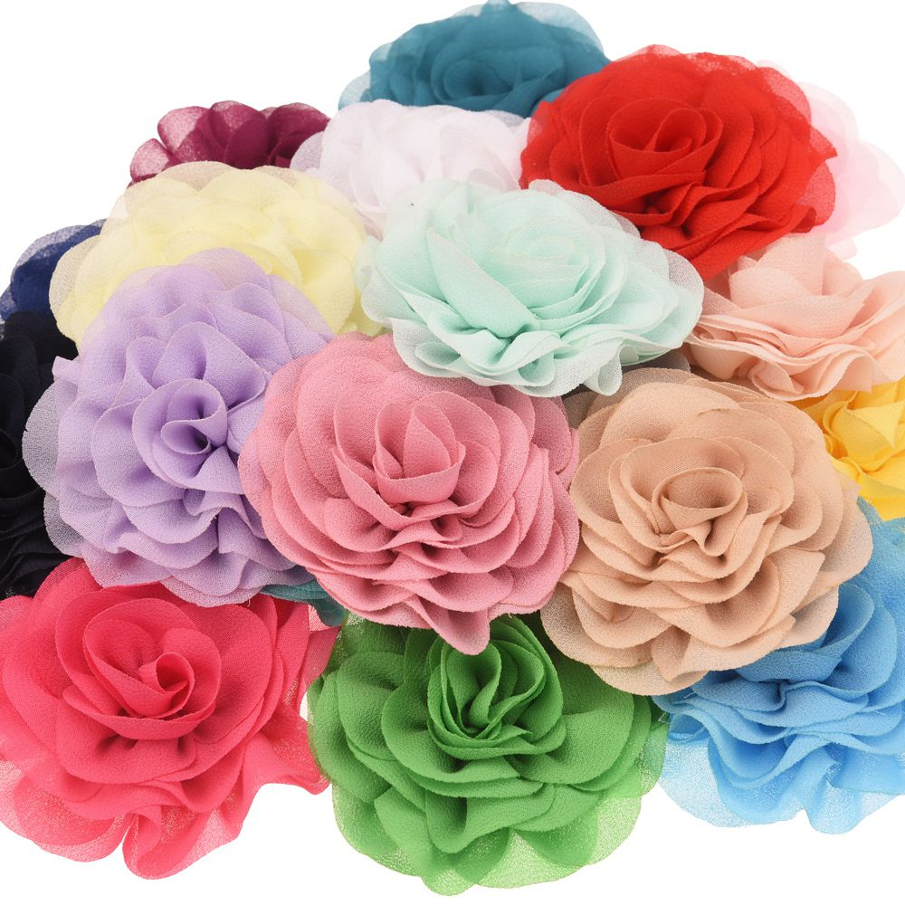 5PCS 7cm Chiffon Flowers Ruffles Hair Flower Hair Accessories DIY Flower Accessory Wedding Decoration Flower No Hairclip Bows
