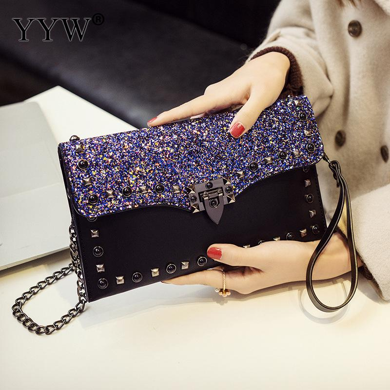 High Quality Sequin Leather Clutch Women