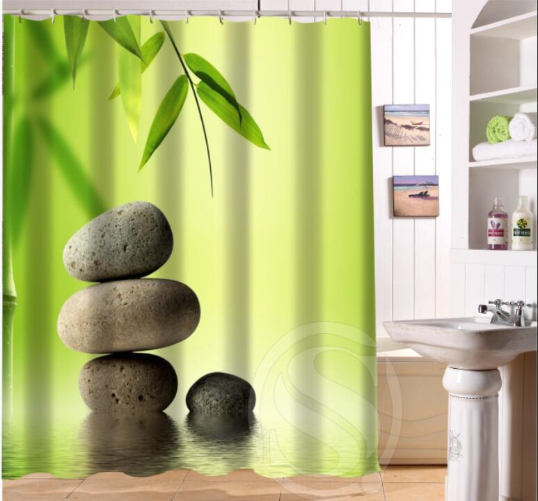 NEW HOT Custom Waterproof Bath Curtain Zen Stone Waterproof Shower Curtain  For Bathroom Free Shipping LRM0624 B1236GFR In Shower Curtains From Home U0026  Garden ...