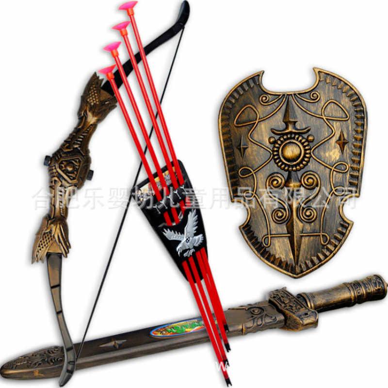 Детские спортивные игрушки, игрушки, мечи, щит, лук и стрела, меч, щит, присоска, моделирование, стрельба из лука, пластиковые игрушечные мечи, набор