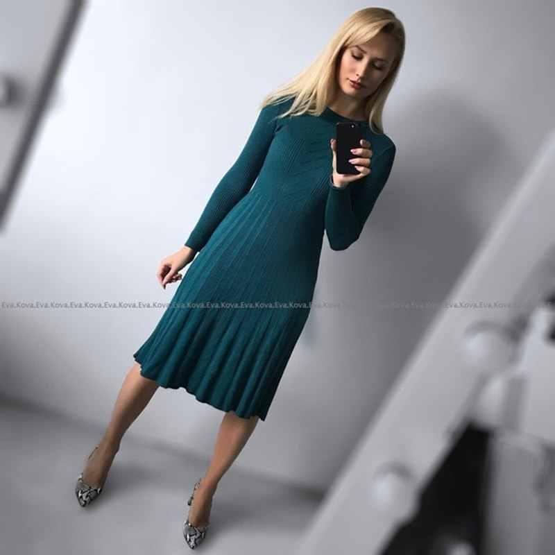 Женское трикотажное платье-свитер GIGOGOU, горчичное/белое/зеленое платье А-силуэта до середины икры длиной, в рубчик, для осени и зимы