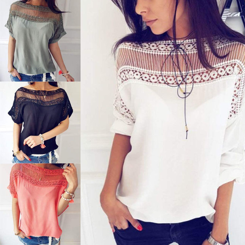 Women Summer T-shirt Short Sleeves Patchwork Hollow Out Pullover Loose Tops H9