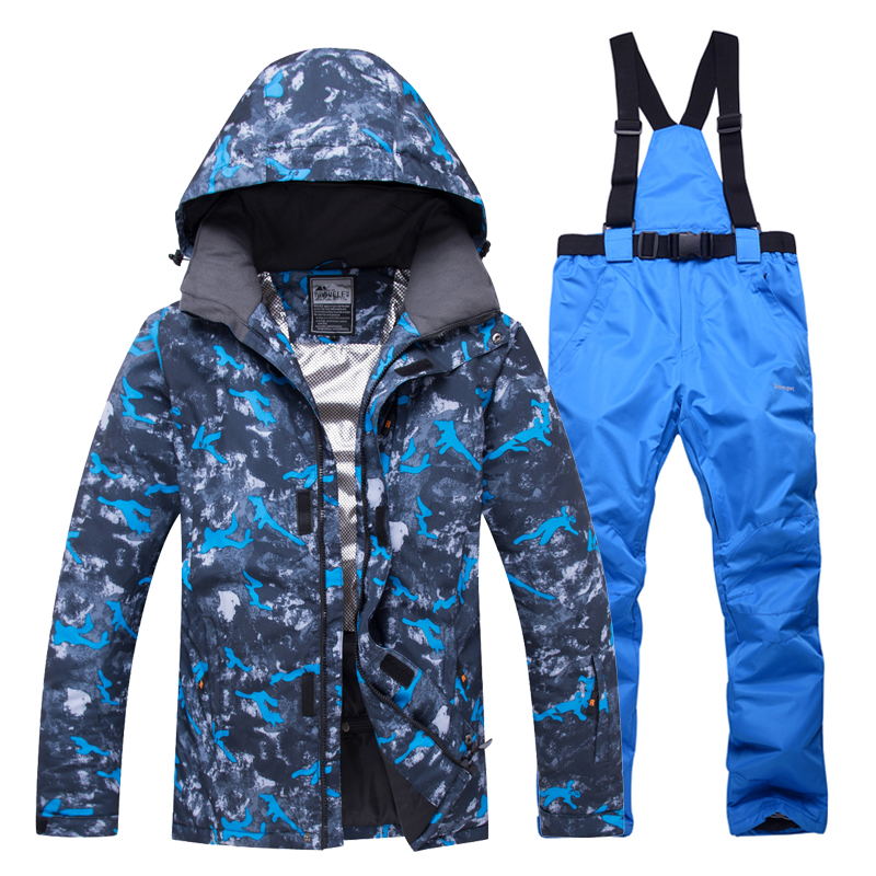 Men winter outdoor ski wear snow windproof jacket + pants hooded snowboard suit breathable warm sportswear russia -30 degree hot
