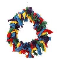 Aves juguete grande colorido algodón cuerdas anillo PET Bird Parrot hamaca swing Juguetes colgando mascotas juguete Accesorios e5m1