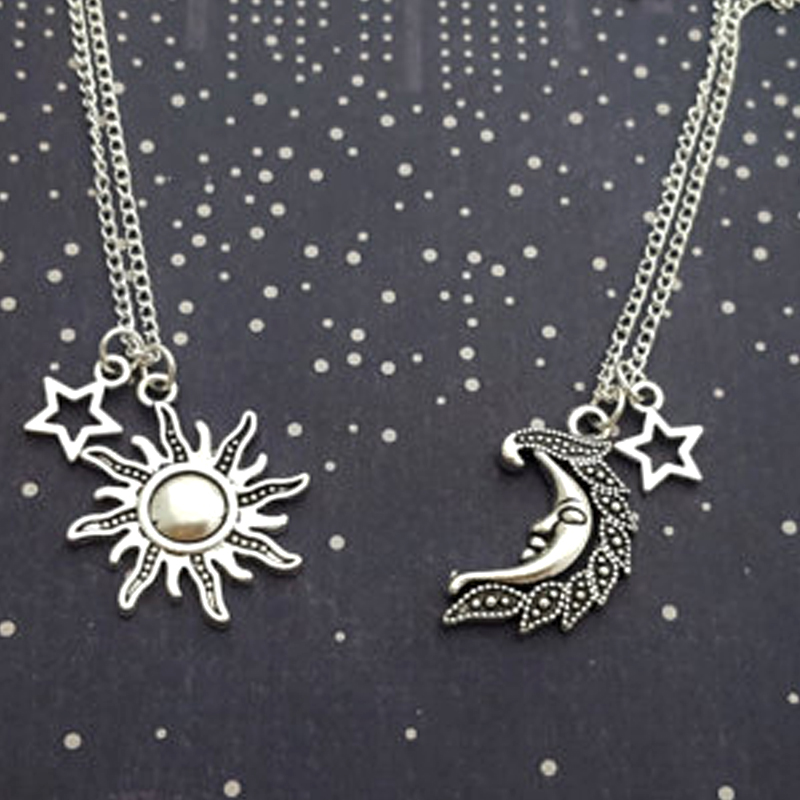 2PCS/set HOT SALE Lovers Jewelry Necklace Moon Sun Stars Pendant Necklace For Couple Gift