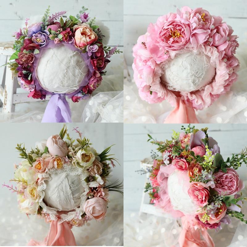 Baby Photography Props Flowers Sitter Bonnets Newborn Prop Floral Cap Girl Christmas Hat Shower Children Photo