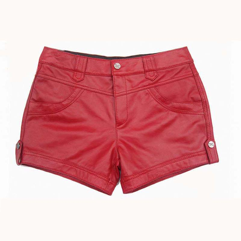 Women Sexy Mini Shorts Soft Leather Sheepskin Shorts Women High Waist Short Red Black