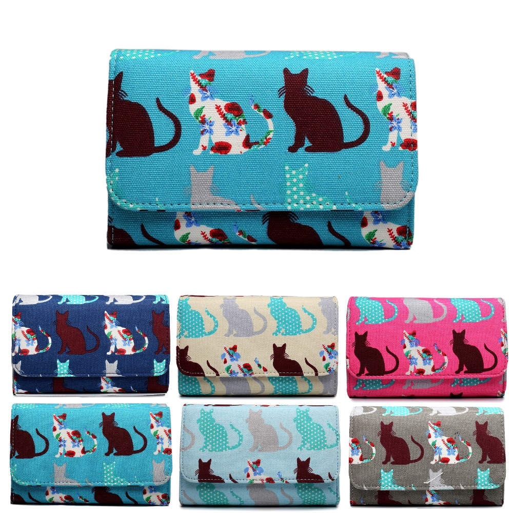 Fashion ladies girl cat <font><b>dog</b></font> printing Canvas Wallets And Purses Multicolor Canvas Material Wallet Femme Fashion Women Wallets