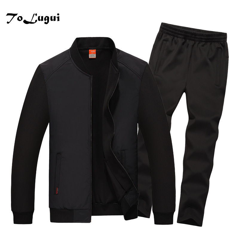 2019 New Men's Sportswear Spring&Autumn Tracksuit Men Jacket + Sweatpants Set Men's Clothing Two Piece Set Plus Size 6XL 7XL 8XL