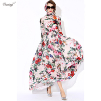 Danisyl 2017 Spring Summer Women Floral Flower Bird Print Maxi Dress Long Sleeve Muslim Vintage Long