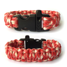 550 Paracord  Bracelet  / Survival /Desert Camouflage/Custom Color/ Plastic Buckle With  Whistle /Red And White