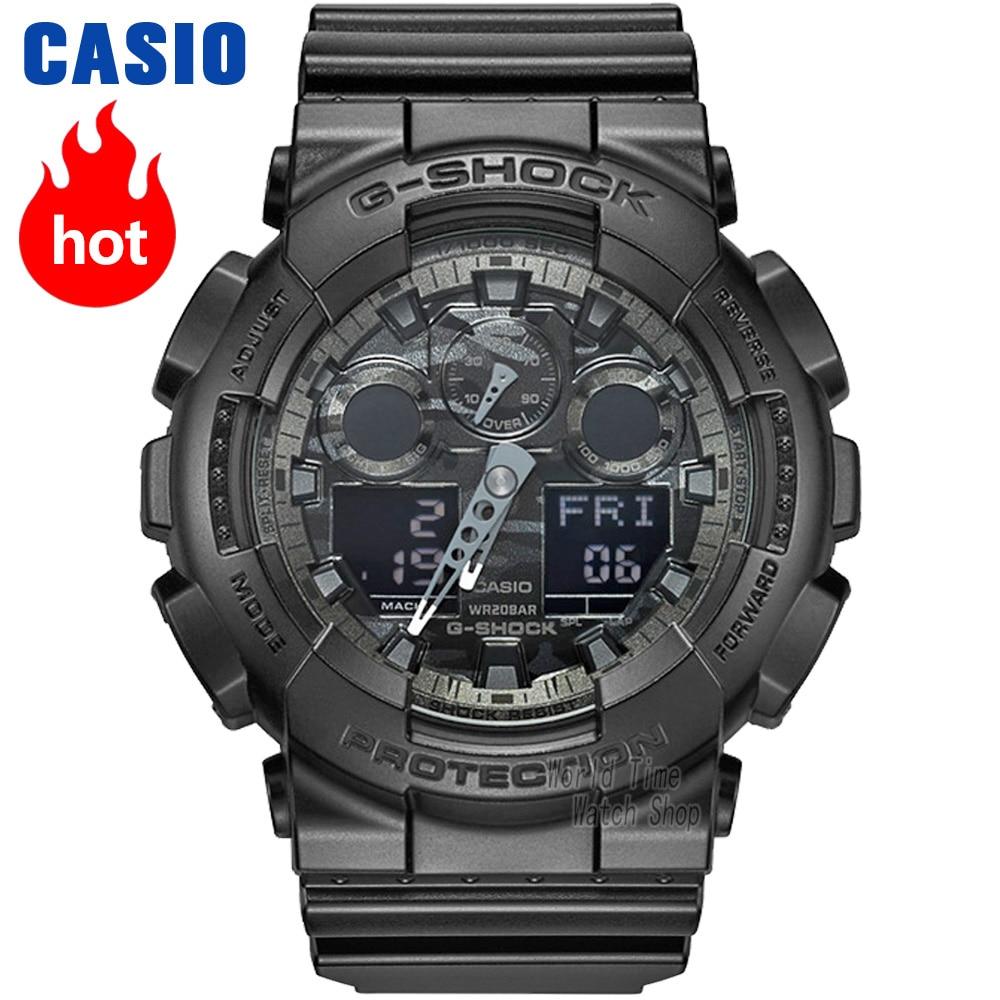 d5b3790e2c9a Reloj Casio G SHOCK de los hombres de cuarzo reloj deportivo tendencia  camuflaje correa de resina impermeable g shock reloj GA 100 en Relojes  deportivos de ...