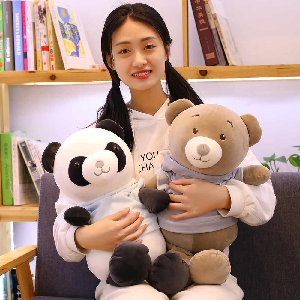 Одетый плюшевый медведь cuddles игрушечная панда плюшевая игрушечная труба для дня рождения девушки
