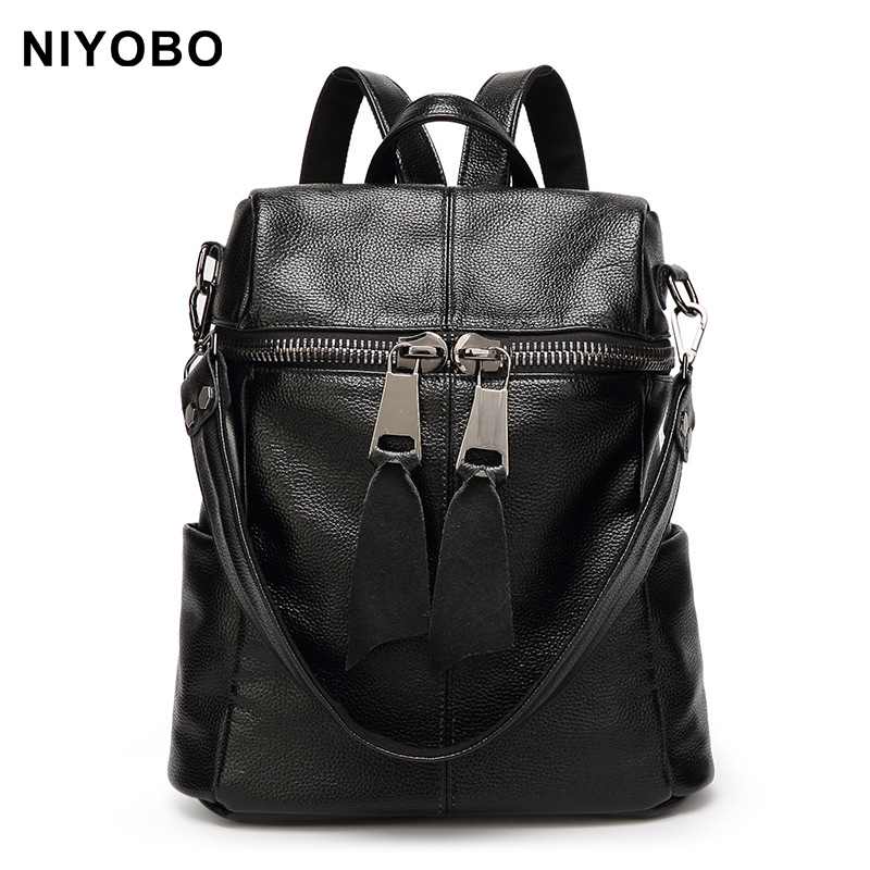 New Fashion Cowhide Women Backpack Female Genuine Leather Backpack Multifunction Women Shoulder Bag PT975 hot sale women s backpack the oil wax of cowhide leather backpack women casual gentlewoman small bags genuine leather school bag
