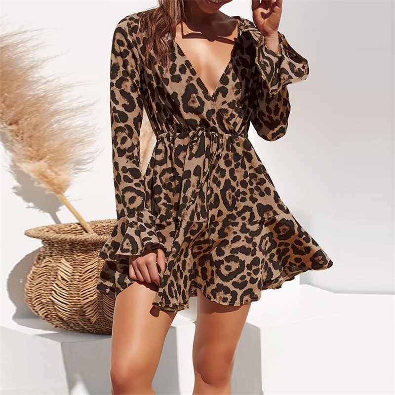 2019 летнее шифоновое платье женский леопардовый принт богемский Пляжные Платья повседневные плиссированные с длинным рукавом ТРАПЕЦИЕВИДНОЕ мини-платье для вечеринки