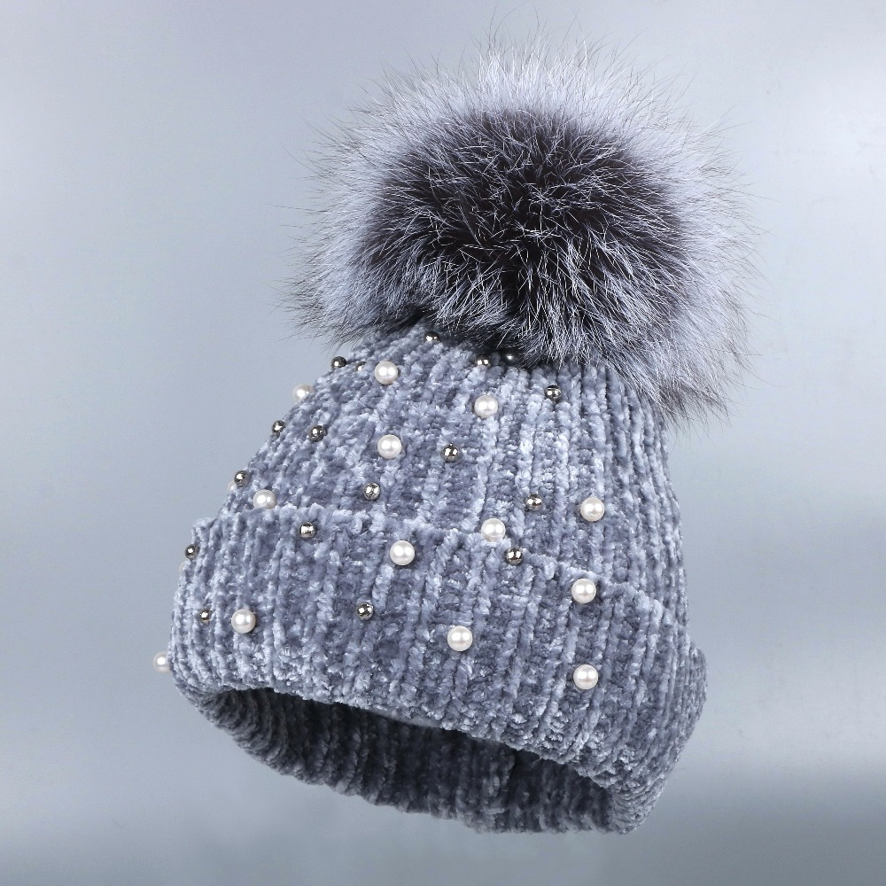 2fdd59d8b20 new design women chenille winter hat FOX pompom beanies real animal fur pom  pom crystal floral luxury winter hats for woman-in Skullies   Beanies from  ...