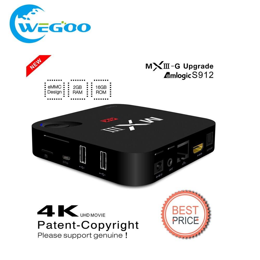 ФОТО 2016 MXIII-G/MXIII Plus 2GB/16GB Amlogic S912 Android 6.0 TV 16.0 TV Box OCTA Core 5G Wifi 4K,H.265 Set Top Box media player