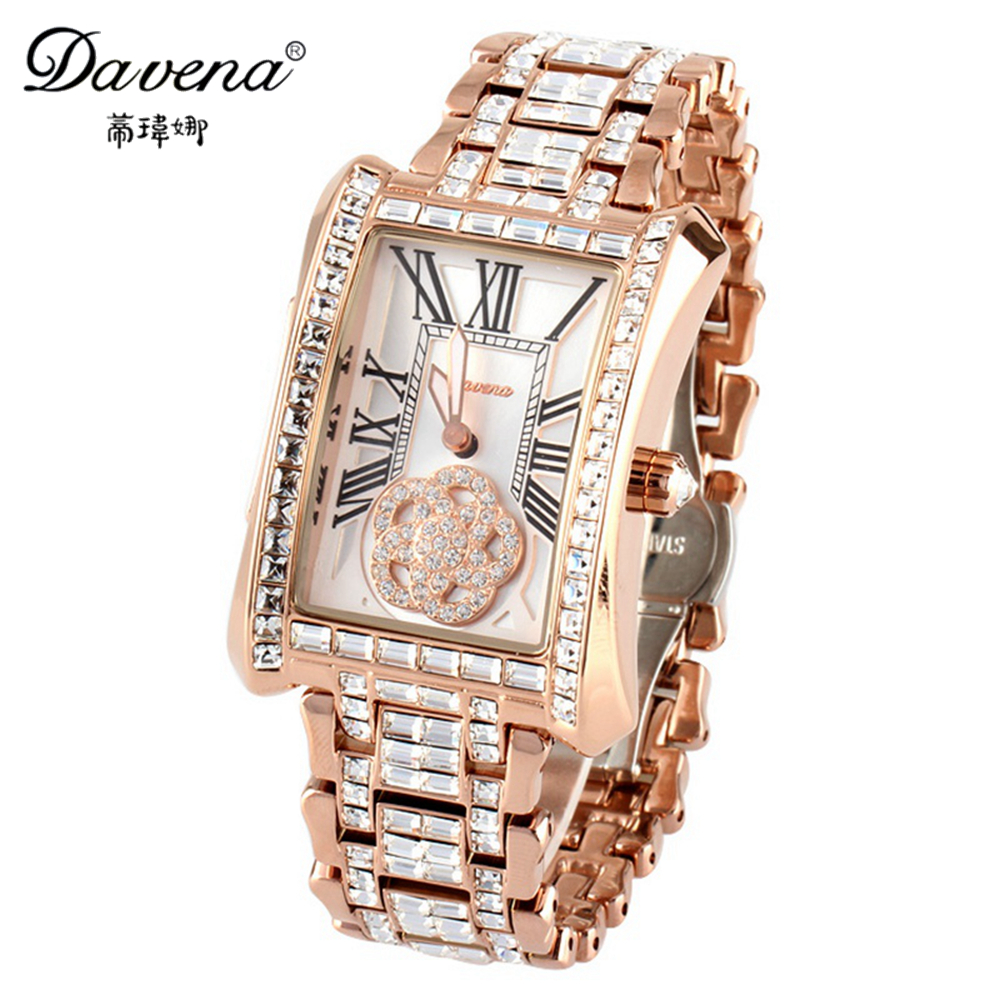 Women's crystal wristwatch women dress rhinestone watches fashion casual quartz watch steel band Luxury brand Davena 60101 clock luxury top brand guanqin watches fashion women rhinestone vintage wristwatch lady leather quartz watch female dress clock hours