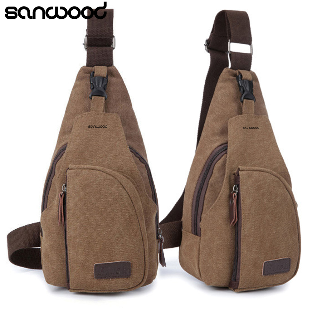 2016 Men's Small Canvas Sling Messenger Single Shoulder Crossbody Men's Small Canvas Chest Pack bag 9IHO
