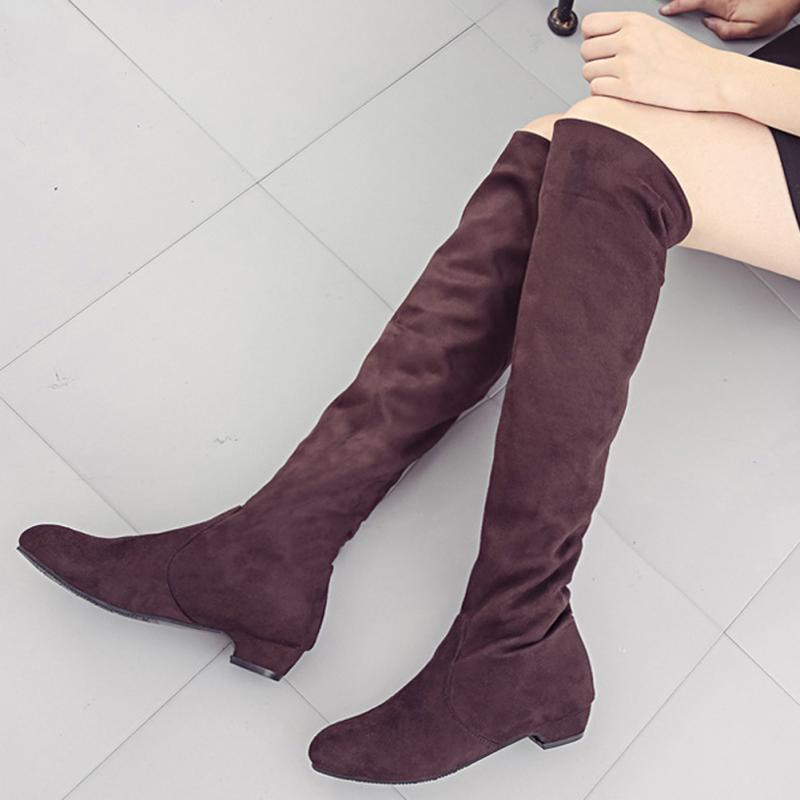2017 women thigh high boots over the knee suede boots winter and autumn woman shoes plus size 35-40 botas mujer femininas 2017 new winter arrival long boots for women over the knee thigh boots high heel flock shoes club boots botas mujer femininas