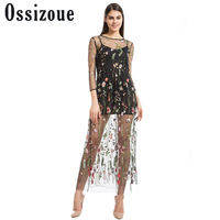 Ossizoue Women Embroidery Flower Casual Dress Summer Two Piece Mesh Maxi Dress Black Dresses Long Sexy Dress Clothing Vestidos