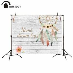 Image 2 - Allenjoy hintergrund weiß holz bord hintergrund mit dreamcatcher blumen Böhmischen stil persönliche design fonds fotografie