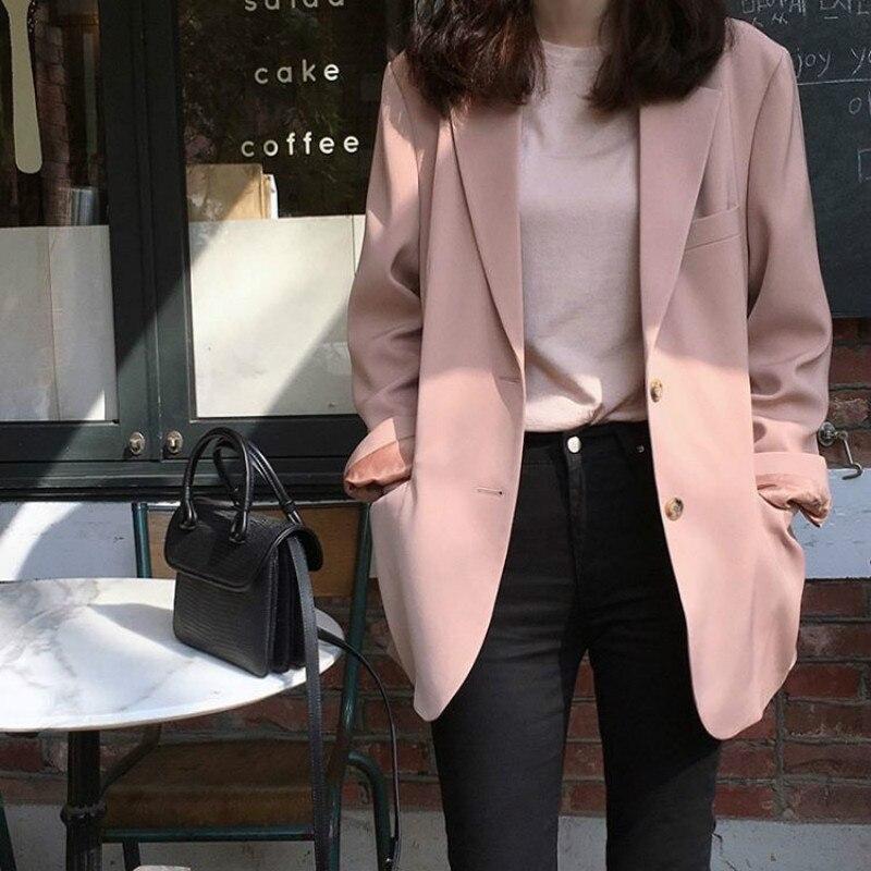 2019 automne femmes modèles mode coréenne décontracté petit costume veste femme tempérament lâche sauvage Ins rose costume
