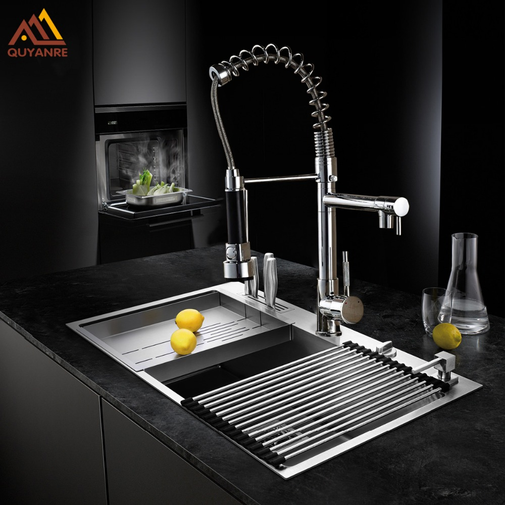 Chrome Black Brushed Nickel Dual Spout Spring Pull Down Kitchen Sink Mixer Water Cock Faucet with