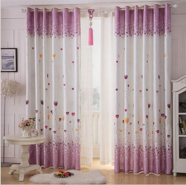 cartoon heart balloon photo print rose jacquard window blackout curtain for living children kid room bedroom