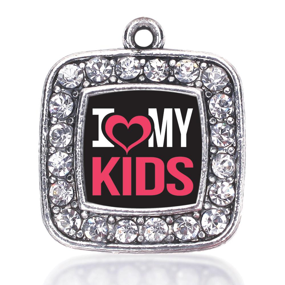 I LOVE MY KIDS SQUARE CHARM ANTIQUE SILVER PLATED CRYSTAL JEWELRY charm bracelets for sisters