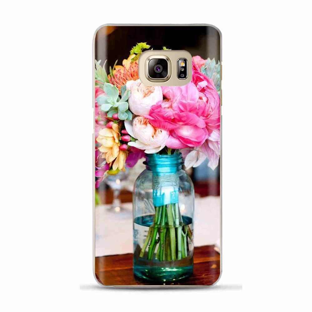 Elegan Yang Indah Bunga Lembut Ponsel Case Penutup Untuk Coque Samsung S6 S7 Edge S8 S9 Plus J3 J5 J7 A3 a5 A7 2016 2017 A8 Plus 2018