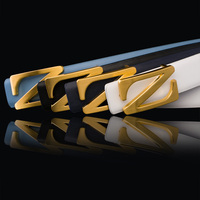 Buckle Z Men Suit Belt Black White Dark Blue Cintos Masculino Amarelo Fashion Trendy Luxury PU