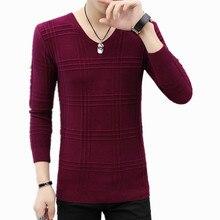 Модная новинка, осенне-зимние теплые шерстяные свитера, повседневный Однотонный пуловер с v-образным вырезом, Мужской приталенный хлопковый свитер