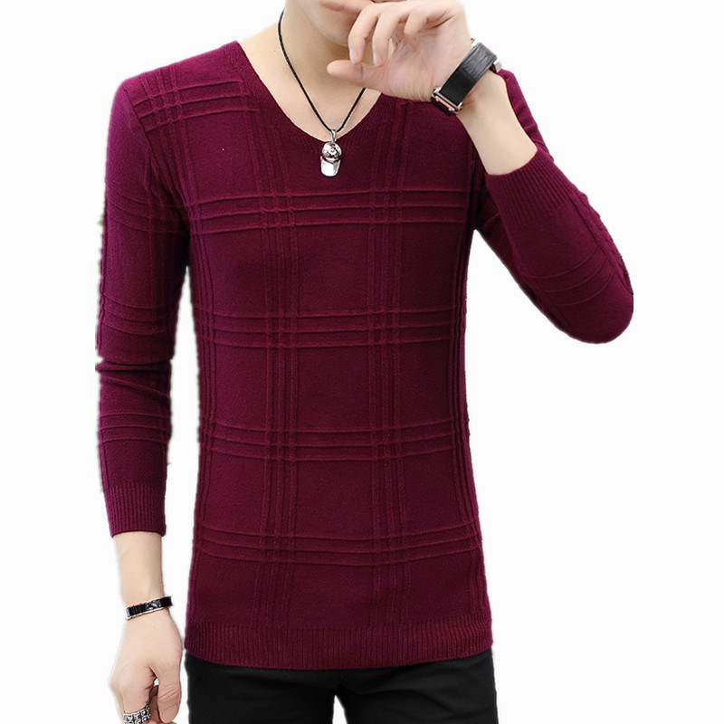 Fashion New 2018 Autumn Winter Warm Wool Sweaters Casual Solid Color V-neck Pullover Men  Slim Fit Cotton Sweater