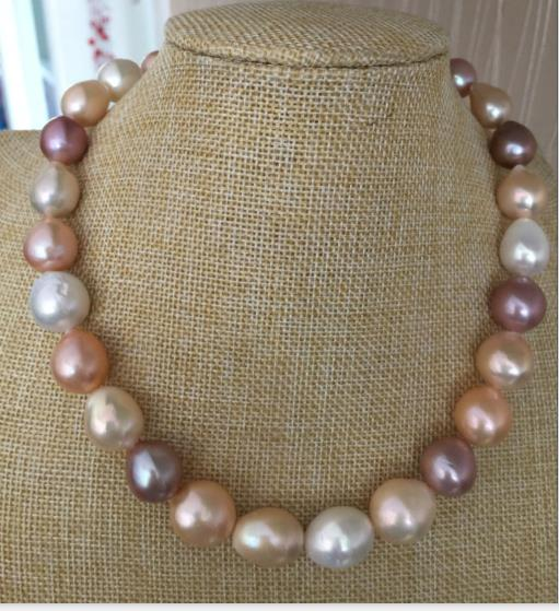 gorgeou natural 12-14mm south sea baroque lavender pink pearl necklace 18inch 925silver цена