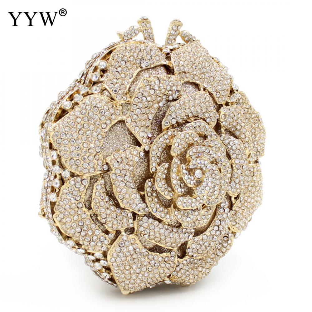 Sac de soirée bandoulière messenger sac mode diamant strass embrayage Designer Floral motif chaîne femmes femme 2018 nouveau à la mode - 3