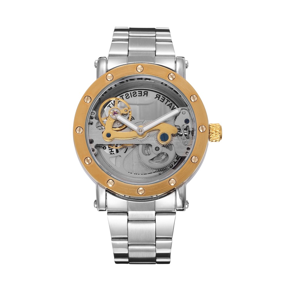 2017 New design Engraving Crave Movement Automatic Watch Hollow Out Skeleton Flywheel Golden Men Luxury Brand Watches Male Clock