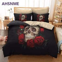 AHSNME Super Rose Skull Nightmare Sleep Bedding Set Quilt Multi Country Or Custom Size Custom Cover
