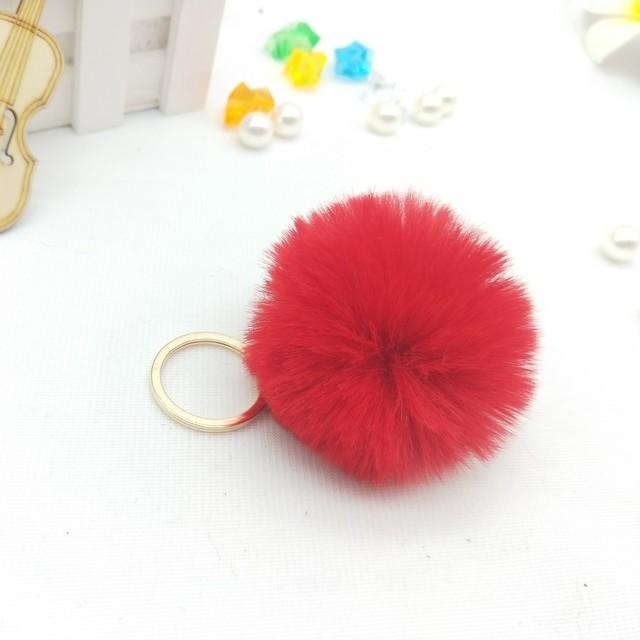 6 cm Bugiganga Chaveiros Chaveiro de Pele De Coelho Do Falso Fofo Chaveiro Bugigangas Pompons Pom Pom Keychain (Ouro/Prata cadeia de cor)