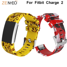 Sport Printing Silicone watch band For Fitbit Charge 2 Watchband Men's watches Strap bracelet Replacement watches belt Wristband цена в Москве и Питере