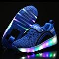 Novas crianças roller shoes menino & menina automático led iluminado piscando patins crianças moda preto sapatilhas com rodas