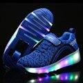 Nuevos niños roller shoes boy & girl automático led iluminado intermitente patines niños moda negro zapatillas de deporte con ruedas