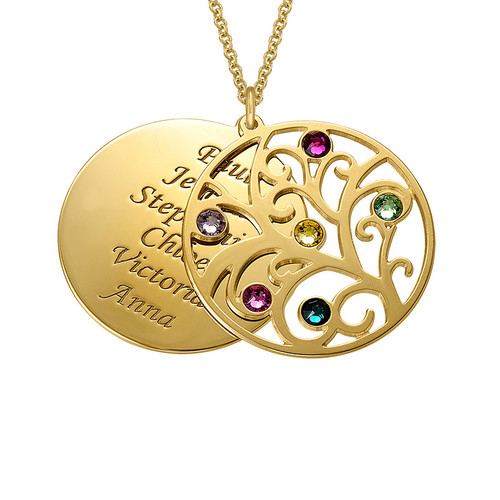 Filigree Family Tree Pendant Necklace  with Birthstones  Birthstones Long Necklaces Jewelry Custom Made Any Name YP2547Filigree Family Tree Pendant Necklace  with Birthstones  Birthstones Long Necklaces Jewelry Custom Made Any Name YP2547
