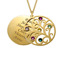 Filigree Family Tree Pendant Necklace  with Birthstones  Birthstones Long Necklaces Jewelry Custom Made Any Name YP2547 стоимость