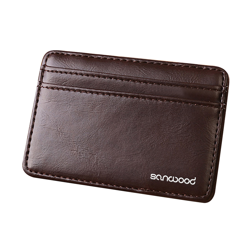 2020 Men's Pure Color Fashion Magic Leather Wearable Wallet Slim Wallet Faux Leather Card Holder Wallet Free Shipping