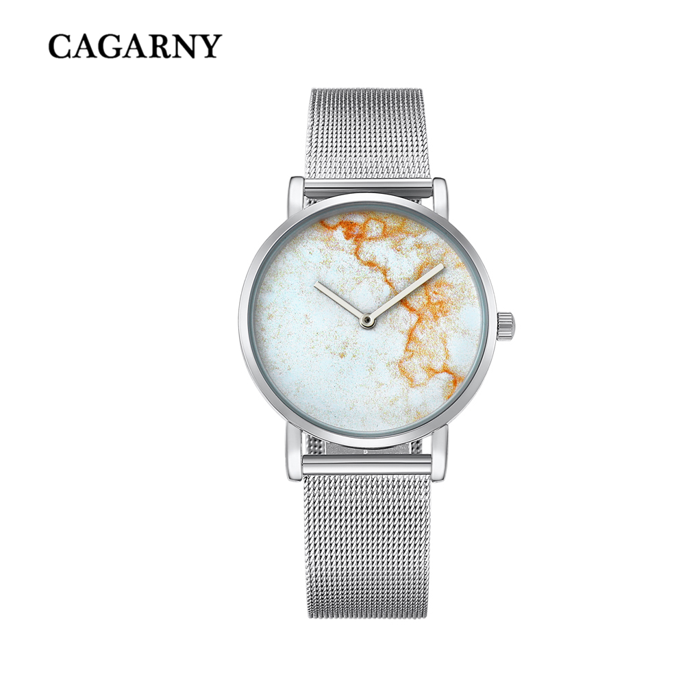 top luxury brand cagarny quartz watch women silver stainless steel mesh band simple style ladies wrist watches waterproof 2019 trendy (11)