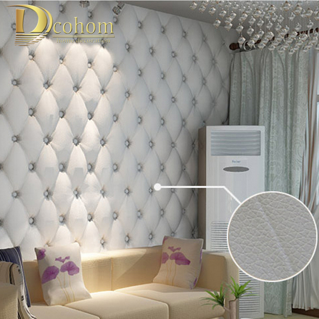 ФОТО free shipping  faux leather soft bag 3d wallpaper PVC white bedside sofa tv background wall wallpaper papel de parede R161